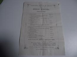 Association Musicale De L'Ouest, Limoges,  1862, Concert SPIRITUEL - Programmes