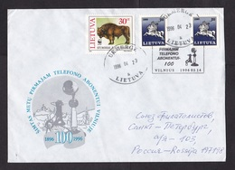 Lithuania: Cover To Russia, 1996, 3 Stamps, Buffalo, Bison, WWF, Cancel Centenary Telephone (minor Crease) - Litouwen