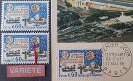R1949/799 - 1965 - CENTENAIRE DE L'U.I.T. - N°1451 NEUF** + VARIETE ➤➤➤ Satellite Bleu + CP 1er Jour - Nuovi