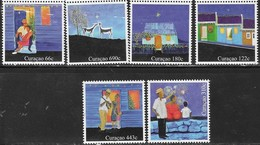 CURACAO, 2018, MNH,DECEMBER STAMPS, CHRISTMAS, GUITARS, FIREWORKS, GOATS, 6v, GLITTER-COATED STAMPS - Christmas
