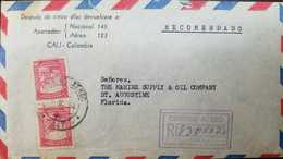 L) 1941 COLOMBIA, COLONIAL BOGOTA, ARCHITECTURE, RED, 20C, CIRCULATED COVER FROM COLOMBIA TO USA - Colombia