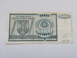 BOSNIA ERZEGOVINA 10000 DINARA 1992 - Bosnia And Herzegovina