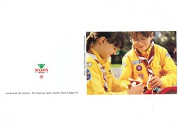 Double Cpm Scouts De France - PARIS - Garçons Fillette Uniforme Foulard écusson - Photo J P Pouteau - Scouting