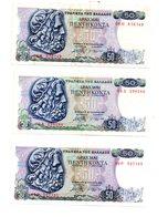 Grèce - 3 Billets De 50 Drachmes ( 1978)-voir état - Griekenland