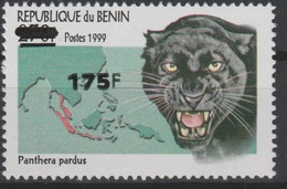 Bénin 2005 Mi. 1392 Panthera Pardus Faune Fauna Panther Panthère Carte Map Landkarte Surchargé Overprint MNH** - Bénin – Dahomey (1960-...)