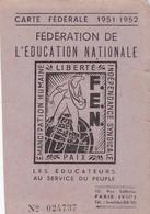 CARTE FEDERALE DE L EDUCATION NATIONALE 1951 - Documents Historiques