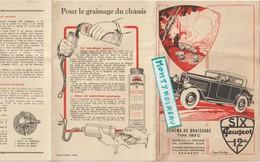 Vieux  Papier :  Six Peugeot , Automobile , Schéma De Graissage Type 183 C , Roger Aubry - Vieux Papiers