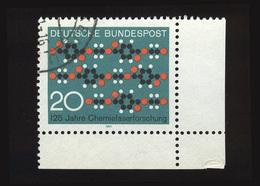 BRD 1970: Michel-Nr. 664, 125 Jahre Chemiefaserforschung, Eckrand Rechts Unten, Gestempelt - BRD
