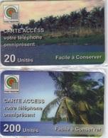 TOGO 1996-98 PREPAYE PREPAID 2 CARTES ACCESS CARDS 20 ET 200 UNITES Palmiers Plage Beach Palmtree - Togo