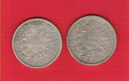 FRANCE  5 Francs Argent Hercule Dupré Lot De 2 Pièces 1874K Et 1875K - Francia