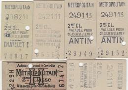 Lot 6 Tickets De Metro Parisien Anciens ( Années 40) - Métro