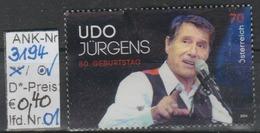 """18.10.2014 - SM """"80. Geburtstag Udo Jürgens""""  -  O Gestempelt - Siehe Scan  (3194o 01-02) - 1945-.... 2. Republik"""