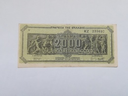 GRECIA 2000 DRACHMAI 1944 - Griekenland