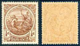 BARBADOS 1916 Seal Of Colony ¼d. Deep Brown, Wmk MCA Inverted, SG 181w, C.v. MNH, £17.00 - Barbados (1966-...)