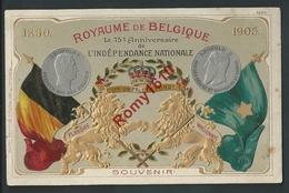 75e Anniversaire De L'indépendance Nationale. Royaume De Belgique.Flandre-Wallonie. M. Marcovici. Litho Gaufrée. 2 Scans - Histoire
