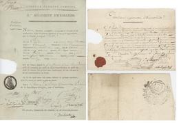 Certificat D'existence IIème Régiment D'Hussards Chinon An 3 -1.4.1795 + Papier Timbré Onzième Régiment DHussards Xantea - Documents Historiques