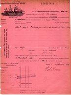 1 Factuur Antwerpen Dampfschiffarts-Gesellschaft Neptun Transport   Anvers-Lisbonne Vapeur Mercur C1895 - Belgium