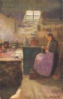 """Prof. E Horwarter. Lady. Quiet Hapiness"" Fine Painting, Nice Antique German Postcard - Femmes"