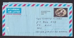 Zambia: Stationery Aerogramme To USA, 2002, Bird, Air Letter, Waterfall, Rare Real Use (minor Damage) - Zambia (1965-...)