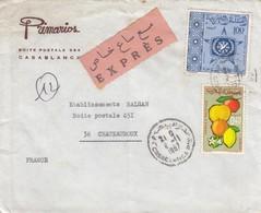LETTRE.  MAROC. 1967. EXPRES 1,40. PRIMARIOS CASABLANCA POUR CHATEAUROUX POUR ALGER  /   3 - Morocco (1956-...)