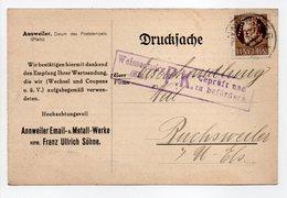 - Drucksache CENSURÉE ANNWEILER Email (Allemagne) Pour BUCHSWEILER (Bouxwiller / France) 8.1.1916 - TIMBRE PERFORÉ A E - - Germany