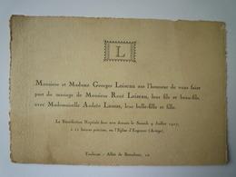 GP 2019 - 1195  FAIRE-PART De Mariage De René LOISEAU Et Andrée LASSUS  (Engomer Ariège 1927)   XXX - Wedding