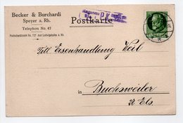 - Postkarte CENSURÉE SPEYER (Allemagne) Pour BUCHSWEILER (Bouxwiller / France) 1.7.1916 - A ETUDIER - - Germania