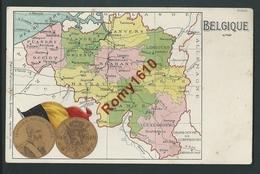 Belgique. Carte Géographique Des 9 Régions. Roi Des Belges  En Médaillon Doré. Litho M. Marcovici. 2 Scans - Cartes Géographiques