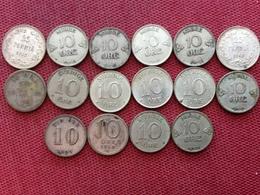 SUEDE NORVEGE Lot De 16 Monnaies De 10 Ore Des Pays Scandinaves - Norvège