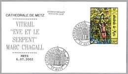 """VIDRIERA """"EVA Y LA SERPIENTE"""" De Marc Chagall. SPD/FDC Metz 2002 - Vidrios Y Vitrales"""