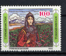 TURKMENISTAN 1992, Yvert 3, Jeune Fille Folklore, 1 Valeur, Neuf / Mint. R146folk - Turkmenistan