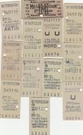 Lot De 10 Tickets De Metro Paris Anciens ( Années 40) - Subway