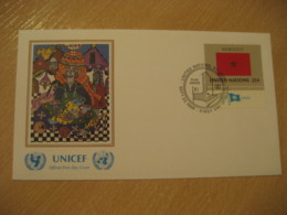 NEW YORK 1989 UNICEF Flag Series F. H. El Farouj Painting FDC Cancel Cover MOROCCO United Nations USA - Morocco (1956-...)
