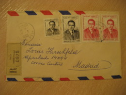 TANGER 1965 To Madrid Spain 4 Stamp On Registered Cancel Air Mail Cover MOROCCO - Morocco (1956-...)