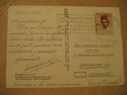RABAT 1972 To Barcelona Spain Stamp On Cancel The Oudaias Emblem Post Card MOROCCO - Morocco (1956-...)