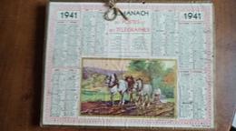 Calendrier Des Postes Et Des Télégraphes 1941-  Cevaux De Labour - Calendarios