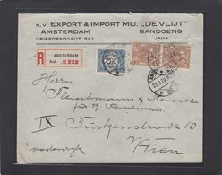 "N.V. EXPORT & IMPORT MIJ ""DE VLIJT"". AMSTERDAM & BANDOENG.EINGESCHRIEBENER BRIEF NACH WIEN. - Period 1891-1948 (Wilhelmina)"
