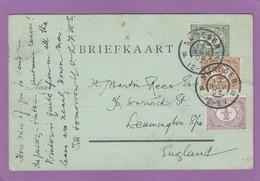 POSTKARTE VON NIMEGEN,MIT 3 BRIEFMARKEN IN 3 VERSCHIEDENE FARBEN,NACH LEAMINGTON SPA. - Period 1891-1948 (Wilhelmina)