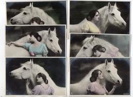 Y12438/  Tolle 6er Serie Pferd Und Frau Foto AK  Fern Andree 1916 - Horses