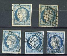 N° 4 CERES. 5 BELLES NUANCES Du 20 Ct  (Voir Description). Obl Grille Et Pc. Cote 345€ - 1849-1850 Ceres
