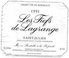Etiquette (11,7X9,7)   Les FIEFS De LAGRANGE  1991 SARL Du Château Propriétaire à St Julien Beychevelle 33 - Bordeaux