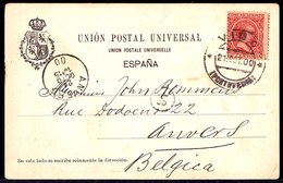 1900 VIGO - TARJETA POSTAL CIRCULADA VIGO A ANVERS 10 CTS. Yvert 200 BERMELLÓN - Lettres & Documents