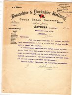 1 Factuur  Antwerpen Goole Sream Shipping Jordaanskaai Dorkshire Railway C1920 - Belgio