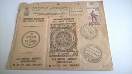 ERINNOFILI VIGNETTE CINDERELLA - CITTA' DI FIUME CELEBRAZIONI UNITA' D'ITALIA - MILANO 1961 - Cinderellas