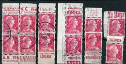 FRANCE N°1011a 15 F ROSE CARMINE MARIANNE DE MULLER  PETIT ENSEMBLE DE PUBLICITES - Advertising