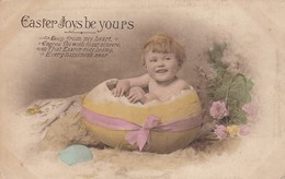 Postcard Easter Joys Be Yours By Savory Of Bristol Small Cild Emerging From Egg My Ref  B13245 - Easter