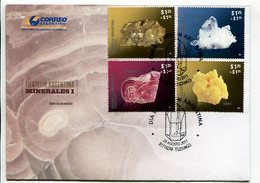 MINERALES I, PIRITA, CUARZO, RODOCROSITA, AZUFRE. ARGENTINA 2011 SOBRE PRIMER DIA, ENVELOPE FDC - LILHU - Minerales