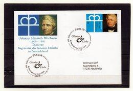BRD, 2008, FDC (individuell, Echt Gelaufen), Mit Michel 2657, J. H. Wichern/Begründer Innere Mission - FDC: Covers