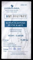 Croatia 2012 / Jadrolinija / Ship Ticket Silba - Zadar - Barche