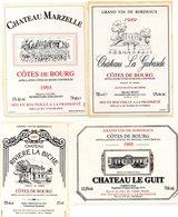 Lot De 12 étiquettes Cotes De Bourg Différentes  Toutes Autocollantes - Bordeaux